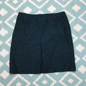 Loft sz 6 Aline Black Blue  Pleated Skirt